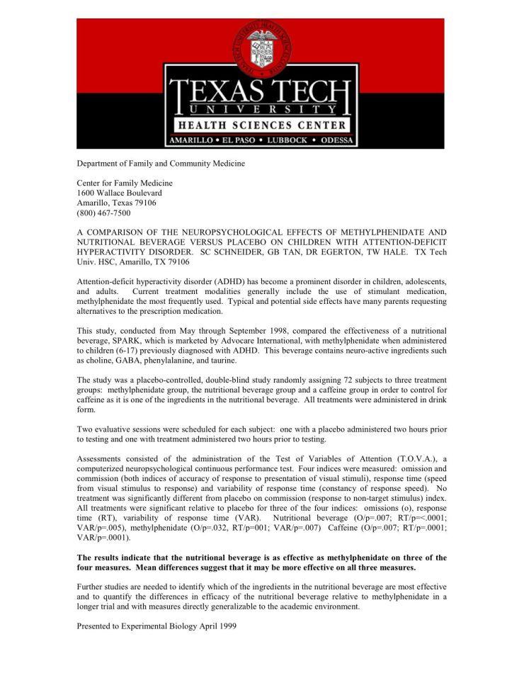 Advocare texas tech study